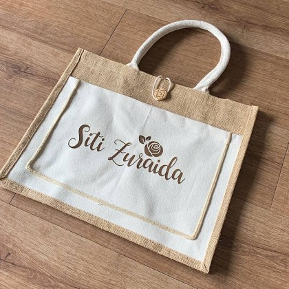 Jute Bag With Button Front Pocket