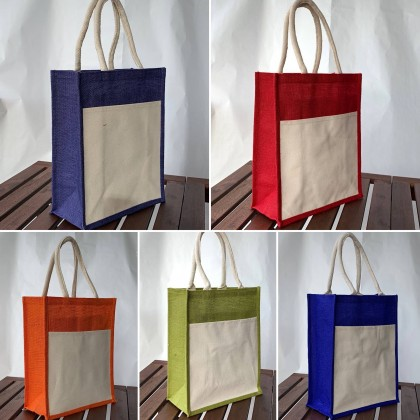 A4 Jute Bag With Front Canvas Pocket