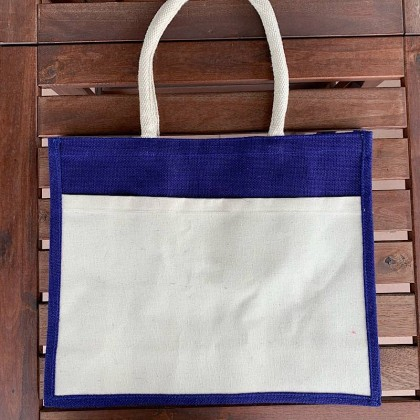 A3 Large Jute Bag With Front Canvas Pocket