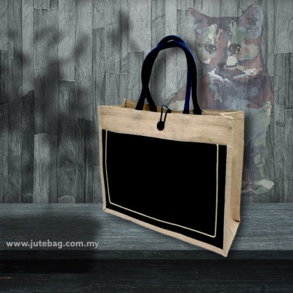 Large Jute Bag With Canvas Pocket Lining