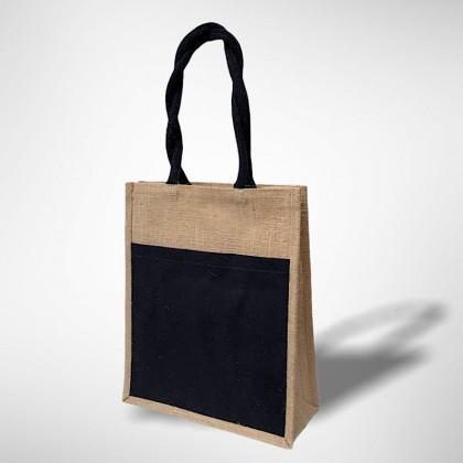 A4 Jute Bag With Colour Front Canvas Pocket