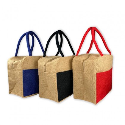 Small Jute Bag With Zip