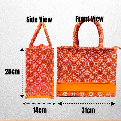 Floral Tote Bag With Zipper And Pocket
