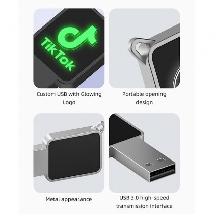 Square Keychain Travel USB Thumb Drive With LED Light